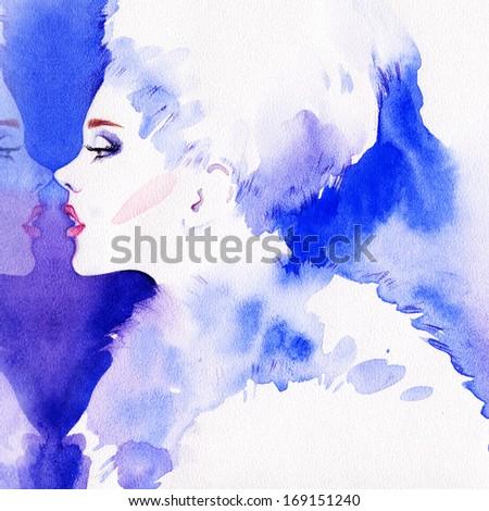 Beautiful woman.  Hand painted fashion illustration - stock photo