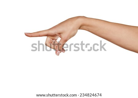 beautiful woman hand pointing a finger in the blank