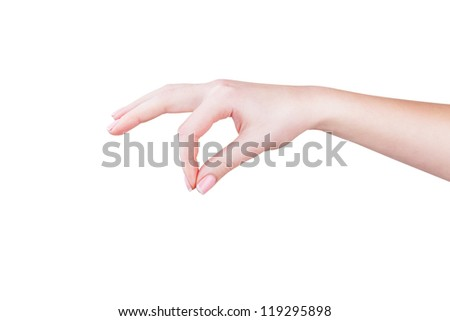 Beautiful woman hand with manicure isolated on white background
