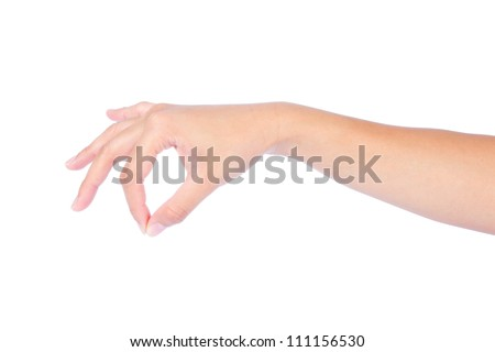 Beautiful woman hand with thumb and forefinger together simulating holding or picking something up, isolated on white background