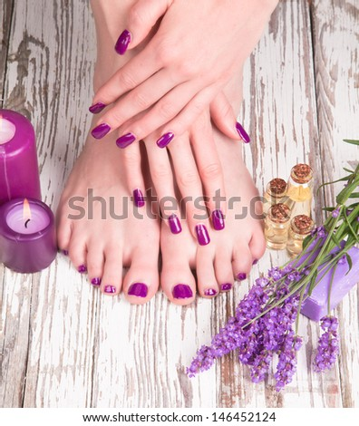 Beautiful woman Hands and sole. Manicure concep