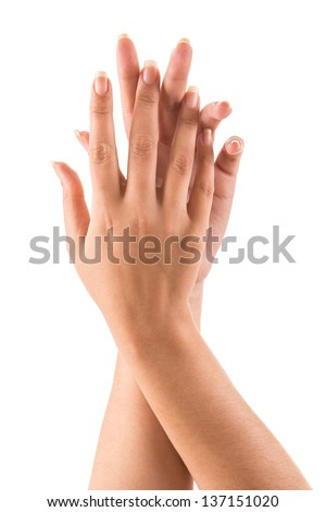 Beautiful woman hands over white background - stock photo