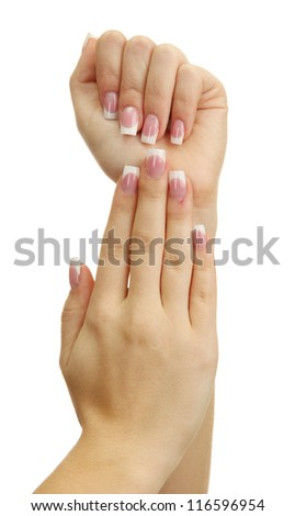 Beautiful woman hands with french manicure, isolated on white