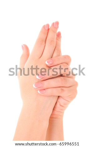 Beautiful woman hands with french manicure on white background