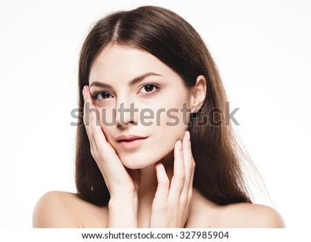 Beautiful woman happy portrait close up studio on white  - stock photo