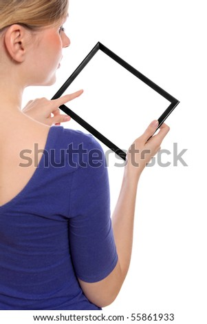 Beautiful woman holding a blank touchpad pc, 1 finger touches the screen, you can add whatever you want in the screen