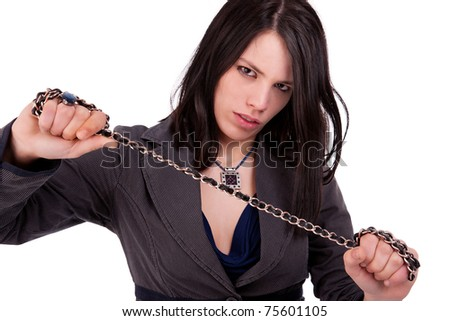 beautiful woman holding a chain with both hands, isolated on white, studio shot