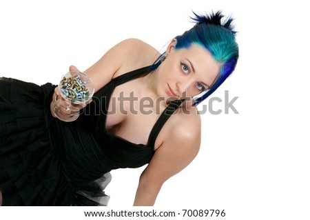 Beautiful woman holding a champagne glass full of nuts and bolts