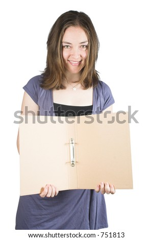 Beautiful woman holding a folder over a white background