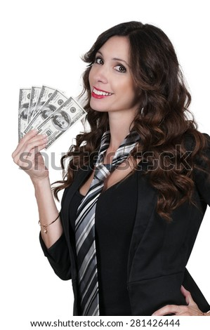 Beautiful woman holding a hand full of 100 dollar bills - stock photo
