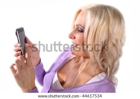 Beautiful woman holding a phone - stock photo