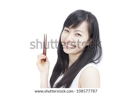 beautiful woman holding chopsticks, isolated on white background