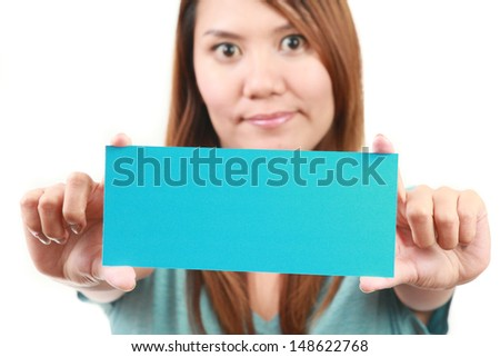 beautiful woman holding empty board. Isolated