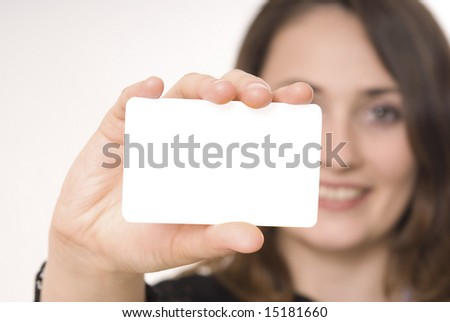 Beautiful woman holding empty gray board