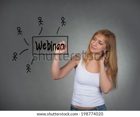 Beautiful woman holding marker drawing webinar concept on visual screen. Business, technology, internet and networking concept. - stock photo