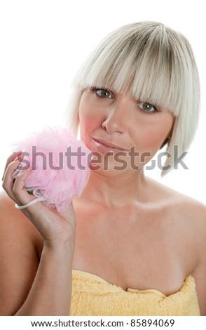 beautiful woman holding pink sponge - stock photo