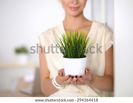 Beautiful woman holding pot with a plant . - stock photo