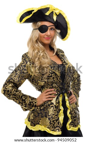 Beautiful woman in a carnival costume. Pirate shape. Isolated image - stock photo