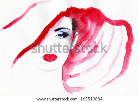 Beautiful woman  in a hat. watercolor illustration - stock photo