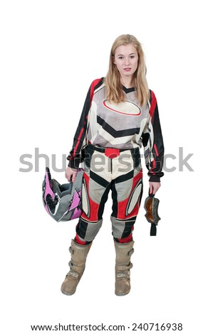 Beautiful woman in a motocross motorcycle suit - stock photo