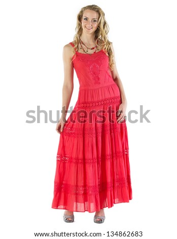 Beautiful Woman In A Red Summer Dress On White Background