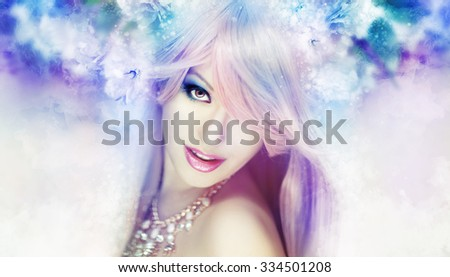 Beautiful woman in a soft, fairytale artwork