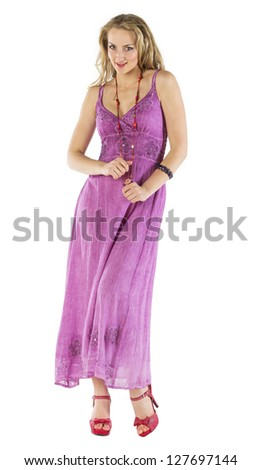 Beautiful Woman In A Summer Dress On White Background - stock photo