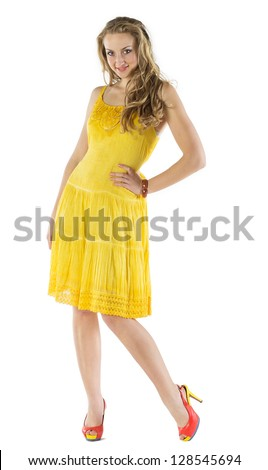 Beautiful Woman In A Summer Dress On White Background