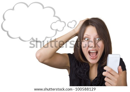 Beautiful woman in amazement looking at mobile phone isolated on white background. Blank cloud at the top of the photo for your text