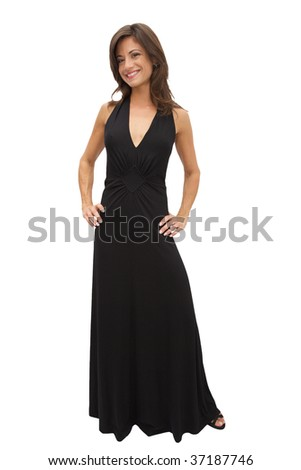 Beautiful Woman in an evening gown full length - stock photo