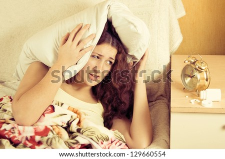 Beautiful woman in bed, have insomnia problem - stock photo