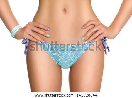 beautiful woman in bikini - stock photo