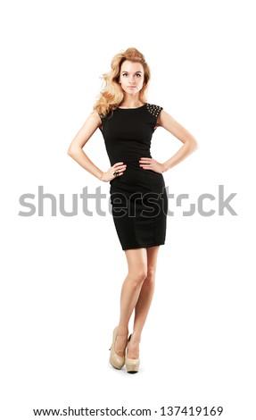 Beautiful women in a black dress
