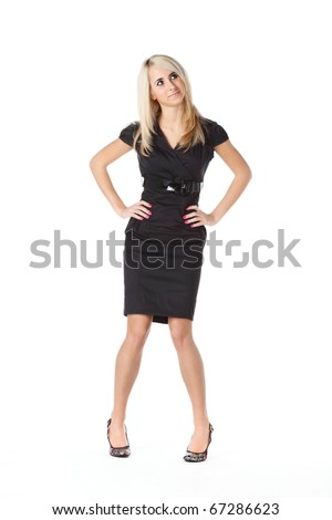 beautiful woman  in black over white background