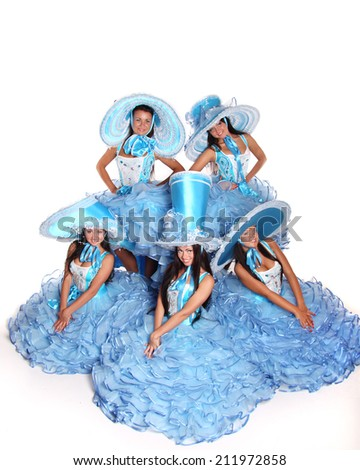 beautiful woman in blue carnival costume on a white background - stock photo