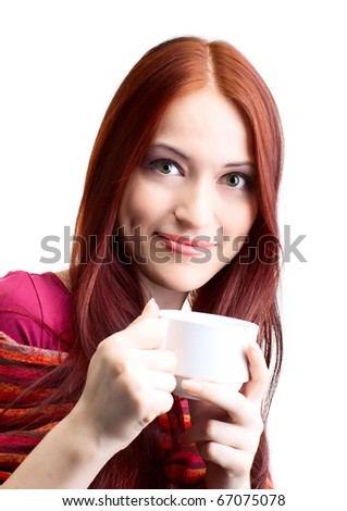 beautiful woman  in cafe over white background with fair hair