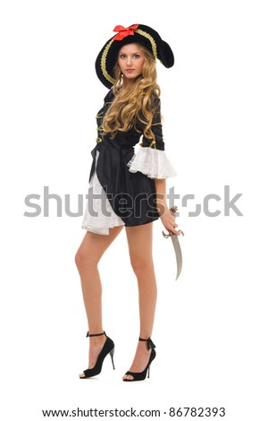 Beautiful woman in carnival costume. Pirate shape. Isolated image - stock photo