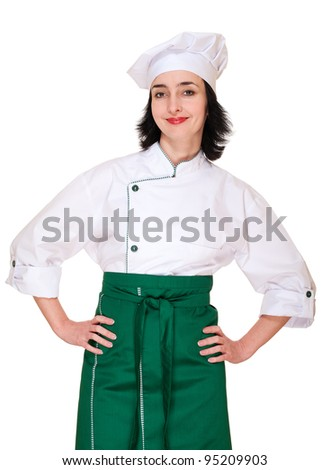 Beautiful woman in chef uniform isolated on white - stock photo
