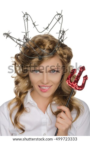 beautiful woman in crown of barbed wire with trident isolated on white