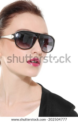 beautiful woman in fashionable in sunglasses