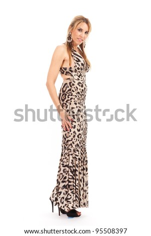 Beautiful woman in formal evening dress on a white background.