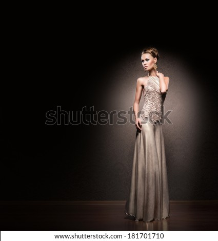 Beautiful woman in glamour dress. There is a blank copy space. - stock photo