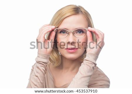 Beautiful woman in glasses - stock photo