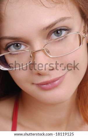 Beautiful woman in glasses isolated on white background