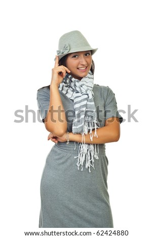 Beautiful woman in gray hat,dress and scarf isolated on white background
