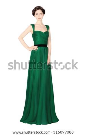 Beautiful woman in green dress... - stock photo