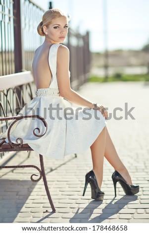 Beautiful woman in high heels - stock photo