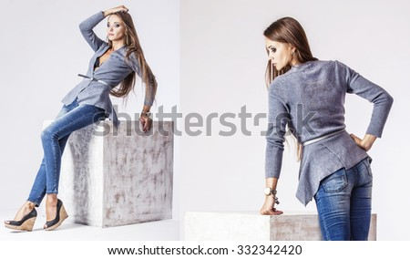 Beautiful woman in jacket and jeans in the Studio. Model in fashionable clothes in two different angles - stock photo
