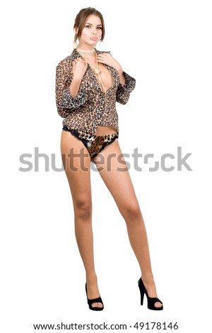 Beautiful woman in leopard shirt. Isolated on white