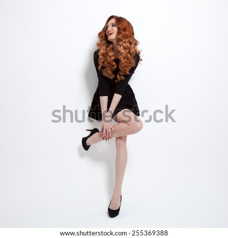 Beautiful Woman in Little Black Fashion Dress. - stock photo